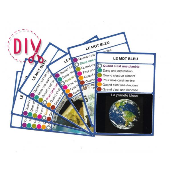 Le mot ''bleu''- DIY - SoCartes est un jeu de société pour les enfants