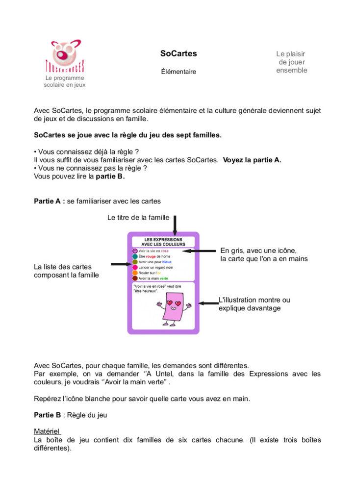 La règle du jeu SoCartes- DIY - SoCartes est un jeu de société pour les enfants